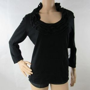 Etcetera Shirt Knit Sweater Top Ruffled Scoop Neck